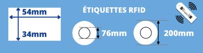 Rouleau d'étiquettes RFID surfacé 54x34mm pour imprimante transfert thermique avec mandrin de 76mm, diamètre de la bobine 200mm