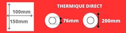Rouleau d'étiquettes 100x150mm thermique direct mandin de 76mm, bobine de 200mm