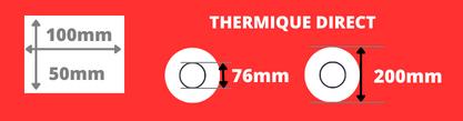 Rouleau d'étiquettes 100x50mm thermique direct mandrin 76mm, bobine de 200m