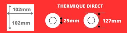 Rouleau d'étiquettes 102x102mm thermique direct mandrin 25mm, diamètre de la bobine 127mm