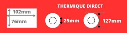Rouleau d'étiquettes thermique direct 102x76mm mandrin de 25mm, Bobine diamètre 127mm