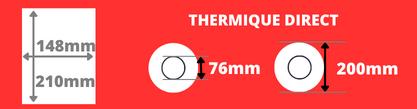Bobine d'étiquettes blanche thermique direct 148x210mm mandrin de 76mm, diamètre de du rouleau 200mm