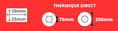 Rouleau d'étiquettes blanche 39x25mm thermique direct mandrin de 76mm, diamètre de la bobine 200mm
