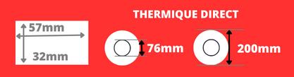 Rouleau d'étiquettes blanche 57x32mm thermique direct mandrin de 76mm