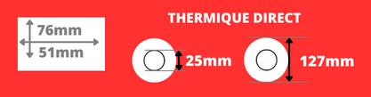 Rouleau d'étiquettes blanche 76x25mm pour imprimante thermique direct mandrin de 25mm, diamètre de la bobine 127mm