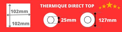 Rouleau d'étiquettes 102x102mm qualité supérieur pour impirmante thermique direct, mandrin de 25mm, diamètre de la bobine 127mm