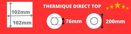 Rouleau d'étiquettes thermique direct de qualité 102x102mm madrin de 76mm, diamètre de la bobine 200mm