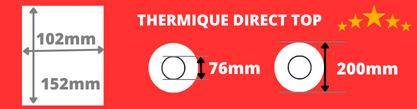 Rouleau d'étiquettes blanche 102x152mm pour impirmante thermique direct avec mandrin de 76mm, diamètre de la bobine 200mm