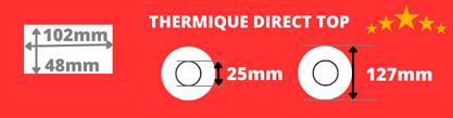 Rouleau d'étiquettes blanche 102x48mm thermique direct de qualité supérieur avec mandrin de 25mm, diamètre de la bobine 127mm