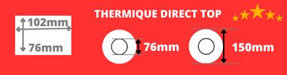 Rouleau d'étiquettes thermique direct de qualité 102x76mm mandrin de 76mm, diamètre de la bobine 150mm