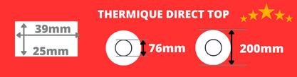 Rouleau d'étiquettes blanche 39x25mm thermique direct de qualité mandrin 76mm, diamètre de la bobine 200mm