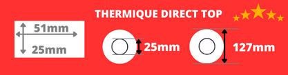 Rouleau d'étiquettes thermique direct 51x25mm mandrin de 25 mm