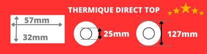 Etiquettes thermique direct de qualité 57x32mm mandrin 76mm, diamètre bobine 200mm