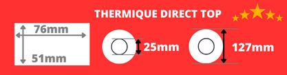 Etiquette thermiques Toshiba de qualité 76x51 mm mandrin 25 mm diamètre bobine 127mm