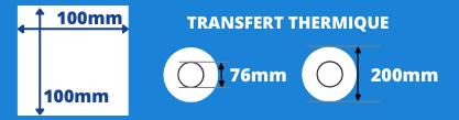 Bobine d'étiquettes blanche de transfert thermique 100x100mm avec mandrin de 76mm et un diamètre de 200mm