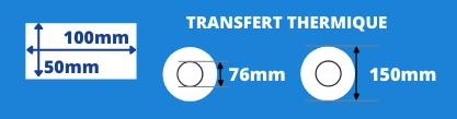 Rouleau d'étiquettes blanche de transfert thermique 100x50mm mandrin de 76mm, diamètre de la bobine 150mm