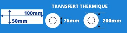 Rouleau d'étiquettes transfert thermique 100x50mm avec mandrin de 76mm, diamètre de la bobine 200mm