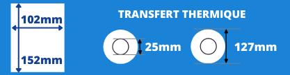 Rouleau d'étiquettes blanche 102x152mm pour imprimante transfert thermique avec un mandrin de 25mm, diamètre de la bobine 127mm