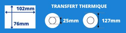 Rouleau d'étiquettes blanche 102x76mm pour imprimante Toshiba mandrin 25mm, diamètre bobine 127mm