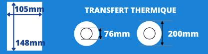 Bobine d'étiquettes blanche 105x148mm transfert thermique avec mandrin de 76mm, diamètre du rouleau 200mm
