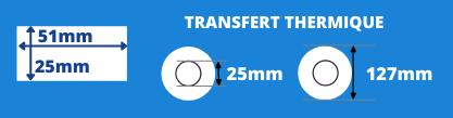 Bobine d'étiquettes blanche 51x25mm transfert thermique avec mandrin de 25mm