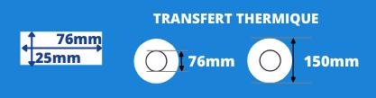 Rouleau d'étiquettes blanche 76x25 pour imprimante transfert thermique avec mandrin de 76mm, diamètre de la bobine 150mm