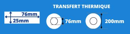 Bobine d'étiquettes blanche 76x25mm pour imprimante thermique avec mandrin de 76mm, diamètre de la bobine 200mm
