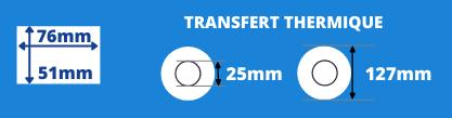 Rouleau d'étiquettes blanche 76x51mm pour imprimante transfert thermique avec mandrin de 25mm