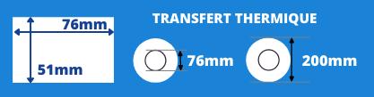 Bobine d'étiquettes 76x51mm transfert thermique avec mandrin de 76mm, diamètre du rouleau 200mm