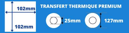 Rouleau d'étiquettes blanche de qualité supérieur 102x102mm transfert thermique avec mandrin de 25mm, diamètre de la bobine 127mm