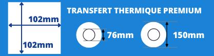 Bobine d'étiquettes 102x102mm pour imprimante transfert thermique avec mandrin de 76mm, diamètre du rouleau 150mm