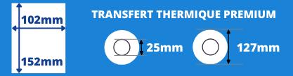 Rouleau d'étiquettes 102x152mm pour impirmante transfert thermique avec mandrin de 25mm, diamètre de la bobine 127mm
