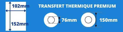Rouleau d'étiquettes blanche 102x152mm premium pour imprimante Toshiba transfert thermique avec mandrin 76mm, diamètre de la bobine 150mm