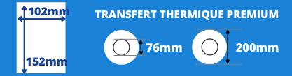 Bobine d'étiquettes blanche 102x152mm de qualité pour imprimante transfert thermique avec mandrin de 76mm, diamètre de la bobine 200mm