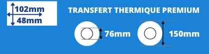 Rouleau d'étiquettes blanche transfert thermique de qualité 102x48mm mandrin de 76mm, diamètre bobine 150mm