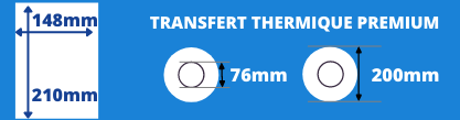 Bobine d'étiquettes blanche 148x210mm pour impirmante transfert thermique avec mandrin de 76mm, diamètre de la bobine 200mm
