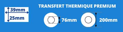 Rouleau d'étiquette transfert thermique 39x25mm blanche avec mandrin de 76mm, diamètre de la bobine 200mm