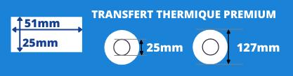 Rouleau d'étiquettes 51x25mm transfert thermique premium mandrin de 25mm, diamètre bobine 127mm