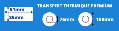 Rouleau d'étiquettes blanche 51x25 mm pour imprimante transfert thermique, mandrin de 25mm, diamètre de la bobine 150mm