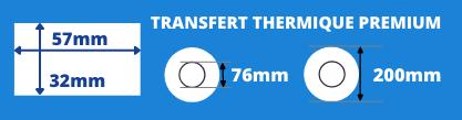 Rouleau d'étiquettes blanche 57x32mm pour imprimante transfert thermique mandrin de 76mm