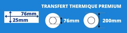Rouleau d'étiquettes blanche 76x25mm pour imprimante thermique avec mandrin de 76mm, diamètre de la bobine 200mm