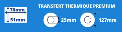 Rouleau d'étiquettes blanche 76x51mm pour imprimante transfert thermique avec mandrin de 25mm, diamètre de la bobine 127mm