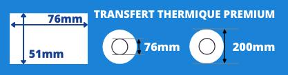 Rouleau d'étiquettes de transfert thermique 76x51mm mandin de 76mm, diamètre extérieur de la bobine 200mm